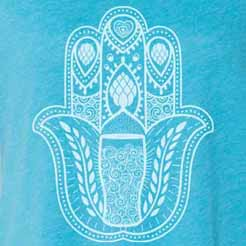 Craft beer hamsa hand design with hops, barley, and beer.