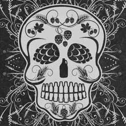 Día de Muertos (Day of the Dead) calavera craft beer sugar skull made out of craft beer icons.