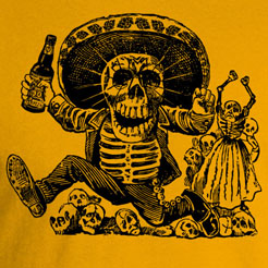Day of the Dead Dia de los Muertos posada calaveras sugar skull graphic tee t-shirt shirt cinco de mayo cerveza