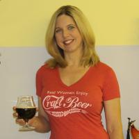 Real Women Enjoy Craft Beer Light Red Tri-Blend V-Neck Tee