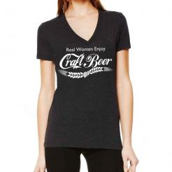Real Women Enjoy Craft Beer Dark Heather Grey Tri-blend V-Neck T-shirt