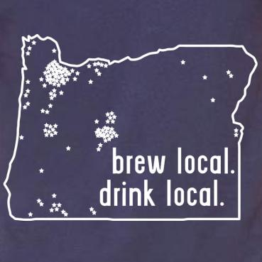 Drink Local Oregon Craft Brewery Map Tee