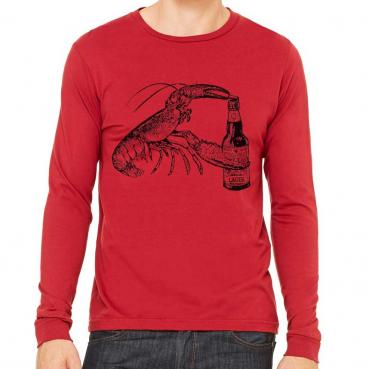 Beer Drinking Lobster Long Sleeve tee