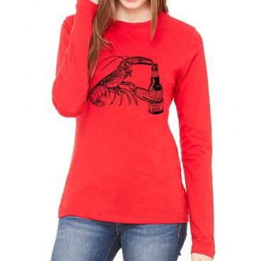 Beer Drinking Lobster Womens Long Sleeve Tee