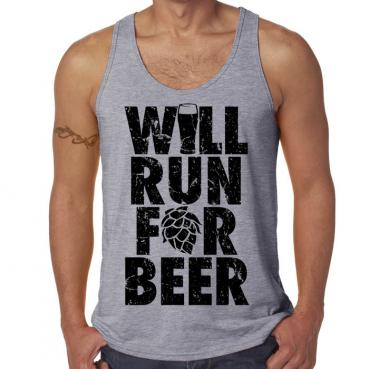Will Run for Beer Athletic Grey Workout Tank