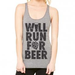 Will Run For Beer Womens Triblend Racerback Tank