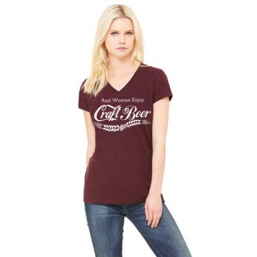 Real Women Enjoy Craft Beer Light Red Ringspun Cotton V-Neck Tee