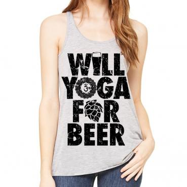 Will Yoga for Beer Athletic Grey Workout Flowy Tank