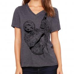 Beer Drinking Sloth Women's V-Neck Graphic T-Shirt