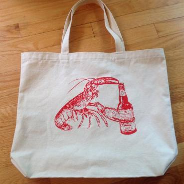 Beer Drinking Lobster Reusable Shopping Bag