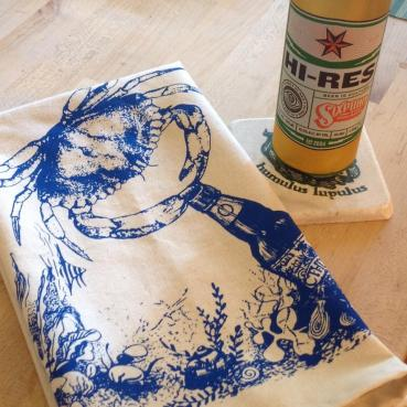 Beer Drinking Crab Bar Towel