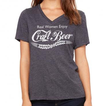 Real Women Enjoy Craft Beer Relaxed Womens V-Neck T-shirt