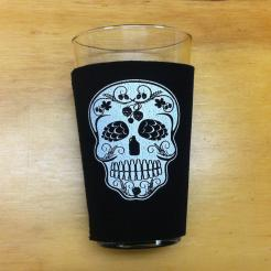 Sugar Skull Pint Glass Koozie