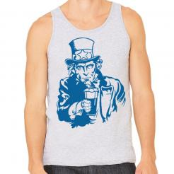 Beer Drinking Uncle Sam Unisex Mens Tank Top
