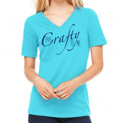 Talk Crafty Too Me Womens V-Neck Typography Graphic Tee