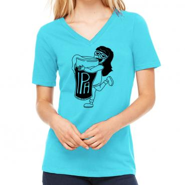 IPA Girl Womens Missy V-Neck Graphic Tee