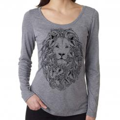 Hops Lion Womens Long Sleeve Scoop Neck Triblend Tee