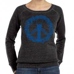Craft Beer Peace Sign Wide Neck Fleece Sweatshirt