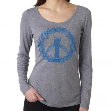 Craft Beer Peace Sign Womens Long Sleeve Scoop Neck Triblend Tee