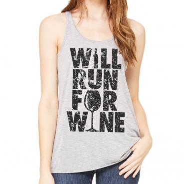 Will Run for Wine Athletic Grey Flowy Tank