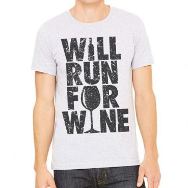 Will Run for Wine Athletic Tee