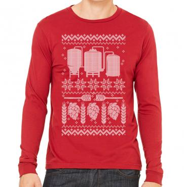 Craft Beer Brewer Ugly Christmas Sweater Long Sleeve T-Shirt