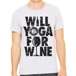 Will Yoga for Wine Athletic Tee