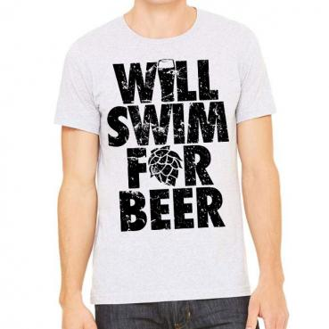 Will Swim for Beer Athletic Heather T-Shirt