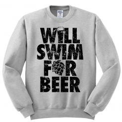 Will Swim for Beer Athletic Fleece Sweatshirt
