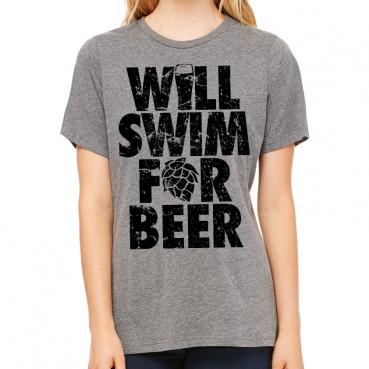 Will Swim for Beer Womens Triblend Tee