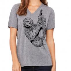Beer Drinking Sloth Womens Missy V-Neck Triblend