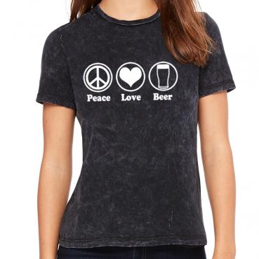 Peace Love Beer Womens Crew Tee