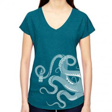 cthulu tentacles women's v-neck graphic tee