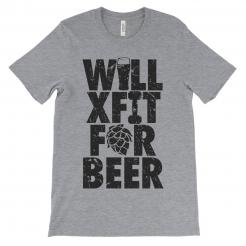 Will Crossfit for Beer Unisex Athletic Grey T-Shirt