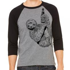 Beer Drinking Sloth 3/4 Sleeve Baseball Jersey
