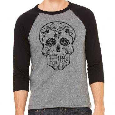 Craft Beer Sugar Skull Day of the Dead - 3/4 Sleeve Baseball Jersey