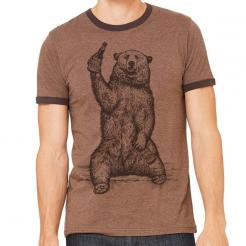 Beer Drinking Grizzly Bear Graphic Ringer Tee