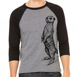 Beer Drinking Meerkat Funny Craft Beer Shirt 3/4 Sleeve Baseball Jersey