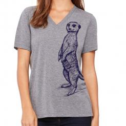 Craft Beer Drinking Meerkat Funny Beer Shirt Women's V-Neck