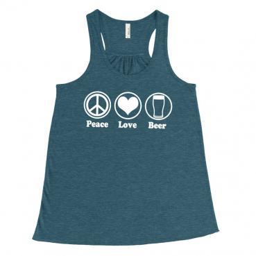 Peace Love Beer Festival Tank - Womens Flowy Racerback Tank