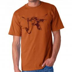 Beer Drinking Texas Longhorn Orange Tailgate T-Shirt