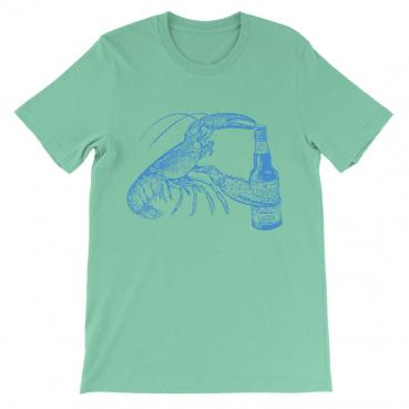Beer Drinking Lobster Seafoam Graphic Tee