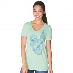 Beer Drinking Sloth Seafoam Womens V-Neck T-Shirt