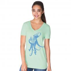 Beer Drinking Octopus Seafoam Womens V-Neck T-Shirt