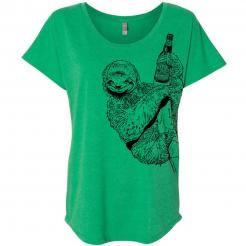 Beer Drinking Sloth Womens Slouchy Off-Shoulder Dolman Graphic Tee