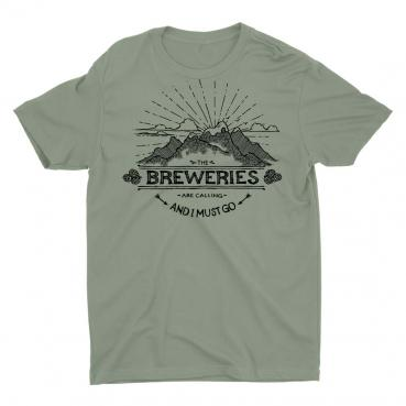 Breweries are Calling - Mountains - Light Olive Graphic Tee