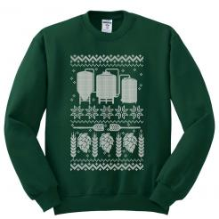 Ugly Christmas Sweater - Fleece Sweatshirt - White Ink on Forest Green