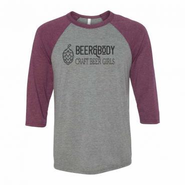 Beer & Bodyt 3/4 Sleeve Raglan Baseball Jersey Tee