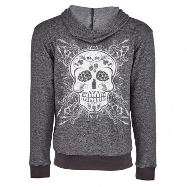Beer & Body Sugar Skull Denim Fleece Zip Hoodie