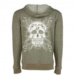 Beer and Body Sugar Skull Denim Fleece Zip Hoodie